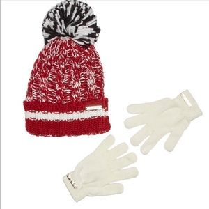 NWT Bebe Marled Knit Pom Pom Hat & Gloves Set